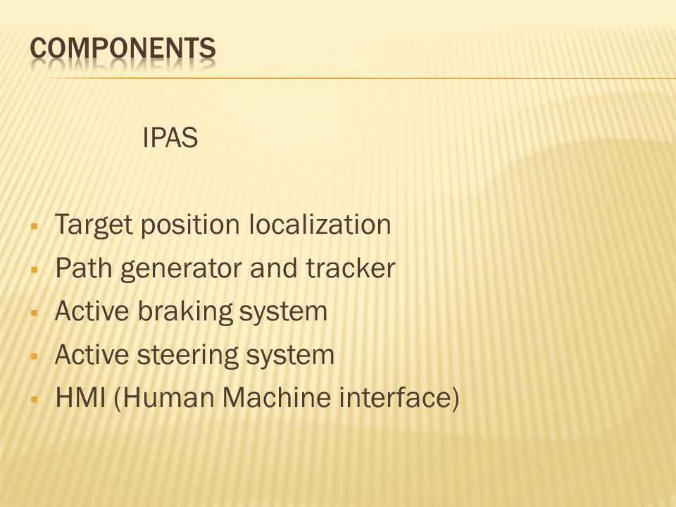 IPAS Target position localization Path generator and tracker Active braking system Active steering system HMI (Human Machine interface)