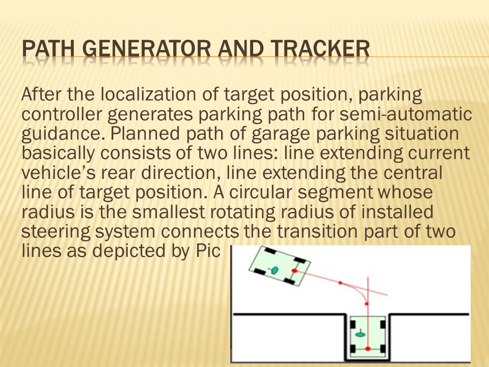 After the localization of target position, parking controller generates parking path for semi-automatic guidance.
