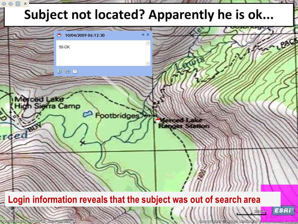 Login information reveals that the subject was out of search area