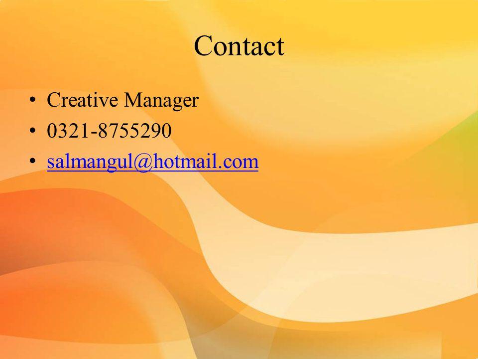 Contact Creative Manager 0321-8755290 salmangul@hotmail.com