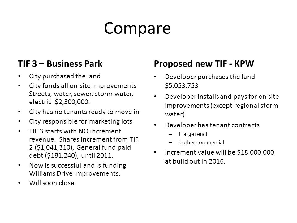 Compare TIF 3 – Business Park City purchased the land City funds all on-site improvements- Streets, water, sewer, storm water, electric $2,300,000.