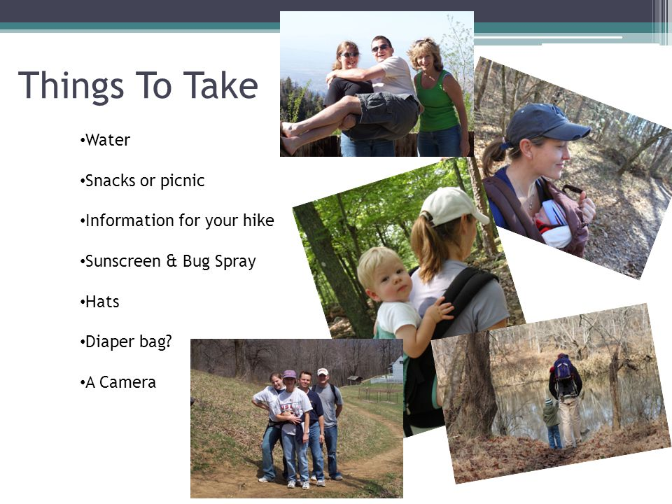 Things To Take Water Snacks or picnic Information for your hike Sunscreen & Bug Spray Hats Diaper bag? A Camera