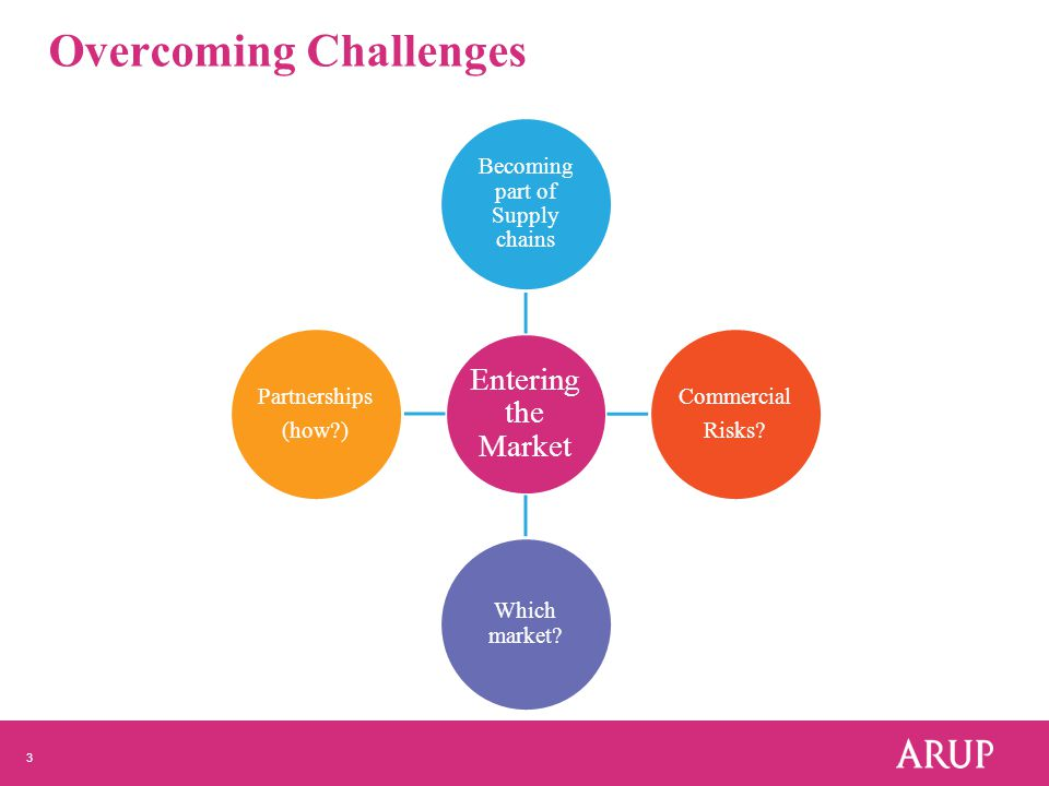 3 Overcoming Challenges Entering the Market Becoming part of Supply chains Commercial Risks.