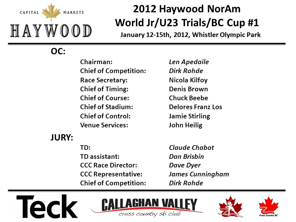 2012 Haywood NorAm World Jr/U23 Trials/BC Cup #1 January 12-15th, 2012, Whistler Olympic Park OC: Chairman:Len Apedaile Chief of Competition:Dirk Rohde Race Secretary:Nicola Kilfoy Chief of Timing:Denis Brown Chief of Course:Chuck Beebe Chief of Stadium:Delores Franz Los Chief of Control:Jamie Stirling Venue Services:John Heilig JURY: TD: Claude Chabot TD assistant: Dan Brisbin CCC Race Director:Dave Dyer CCC Representative:James Cunningham Chief of Competition:Dirk Rohde