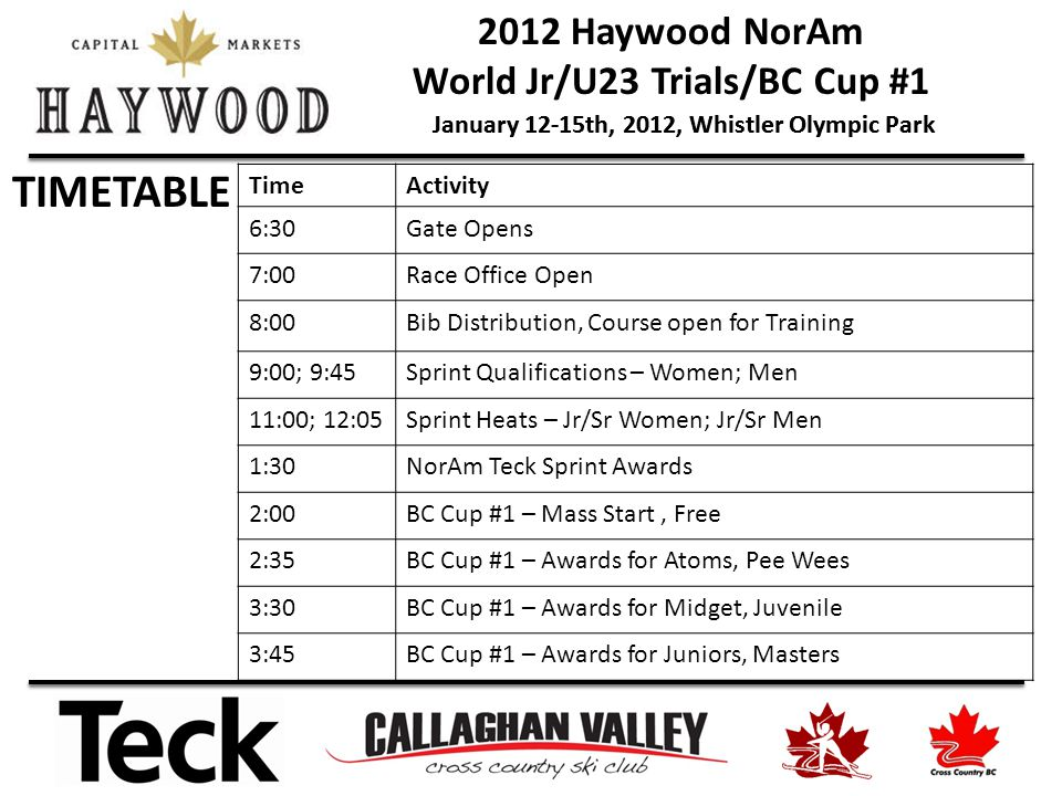 2012 Haywood NorAm World Jr/U23 Trials/BC Cup #1 January 12-15th, 2012, Whistler Olympic Park TIMETABLE TimeActivity 6:30Gate Opens 7:00Race Office Op