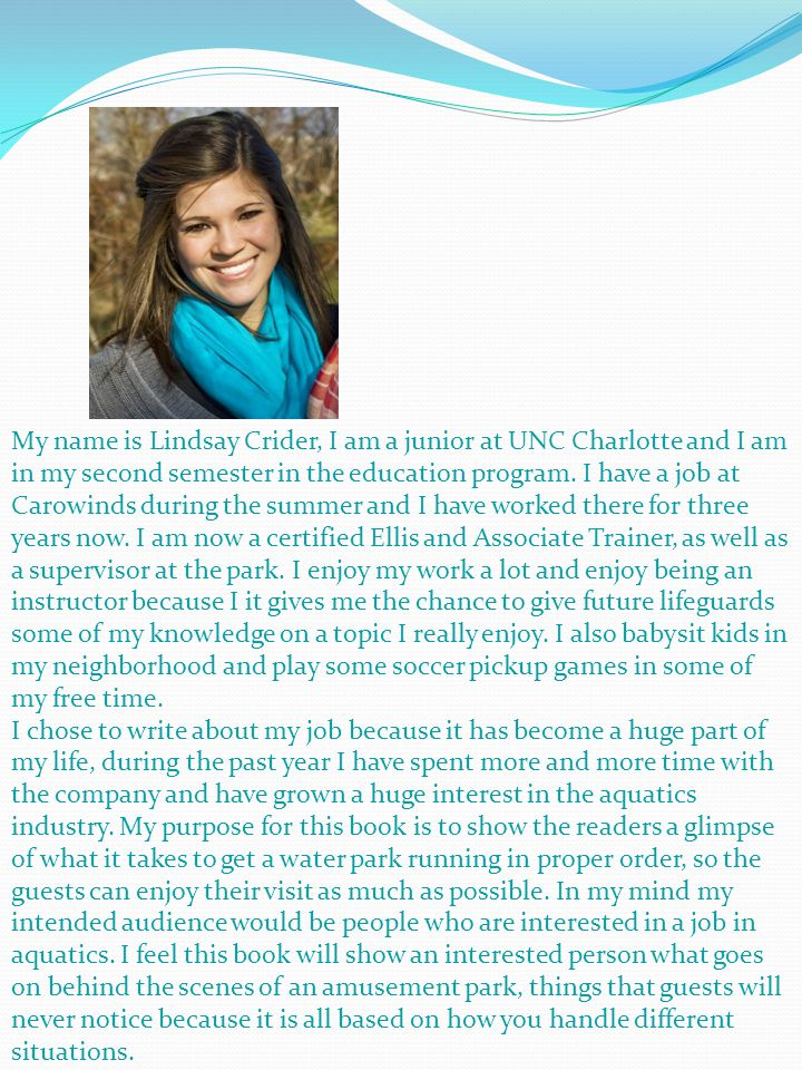 My name is Lindsay Crider, I am a junior at UNC Charlotte and I am in my second semester in the education program.