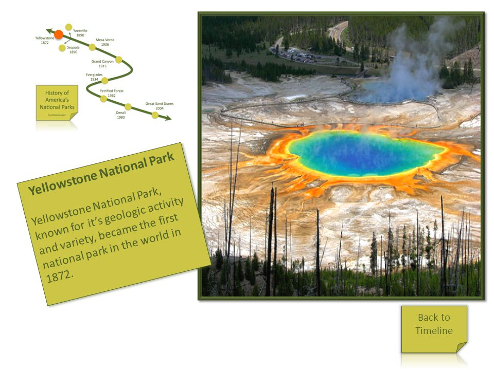 Yellowstone Yellowstone National Park Yellowstone National Park, known for its geologic activity and variety, became the first national park in the wo