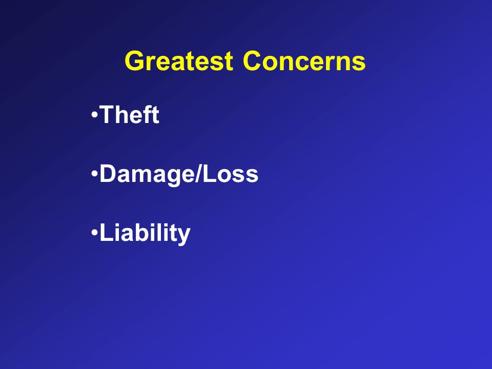 Greatest Concerns Theft Damage/Loss Liability