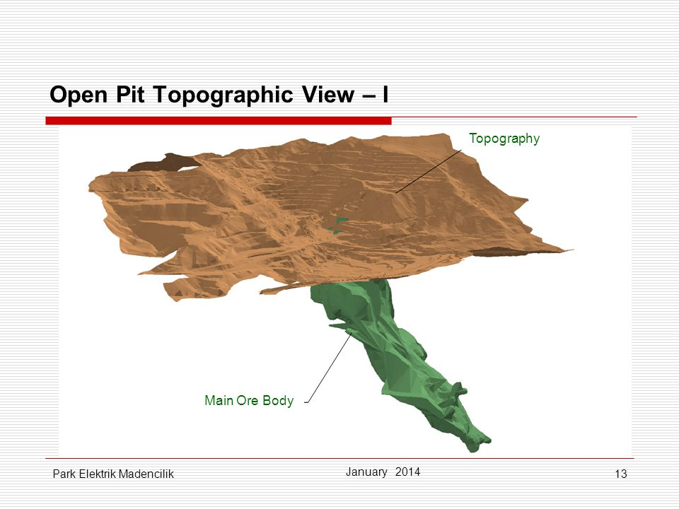 13 January 2014 Park Elektrik Madencilik Main Ore Body Topography Open Pit Topographic View – I