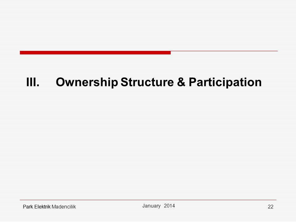 22 III.Ownership Structure & Participation Park Elektrik January 2014 Park Elektrik Madencilik
