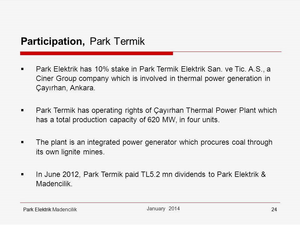 Park Elektrik24 Participation, Park Termik Park Elektrik has 10% stake in Park Termik Elektrik San. ve Tic. A.S., a Ciner Group company which is invol