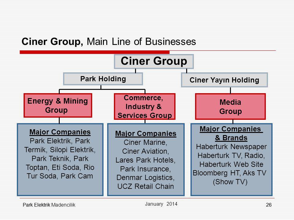 Park Elektrik26 Ciner Group, Main Line of Businesses Energy & Mining Group Ciner Group Media Group Commerce, Industry & Services Group Major Companies