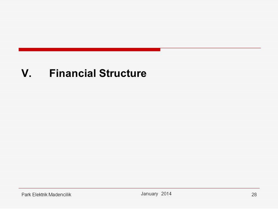 28 V.Financial Structure January 2014 Park Elektrik Madencilik