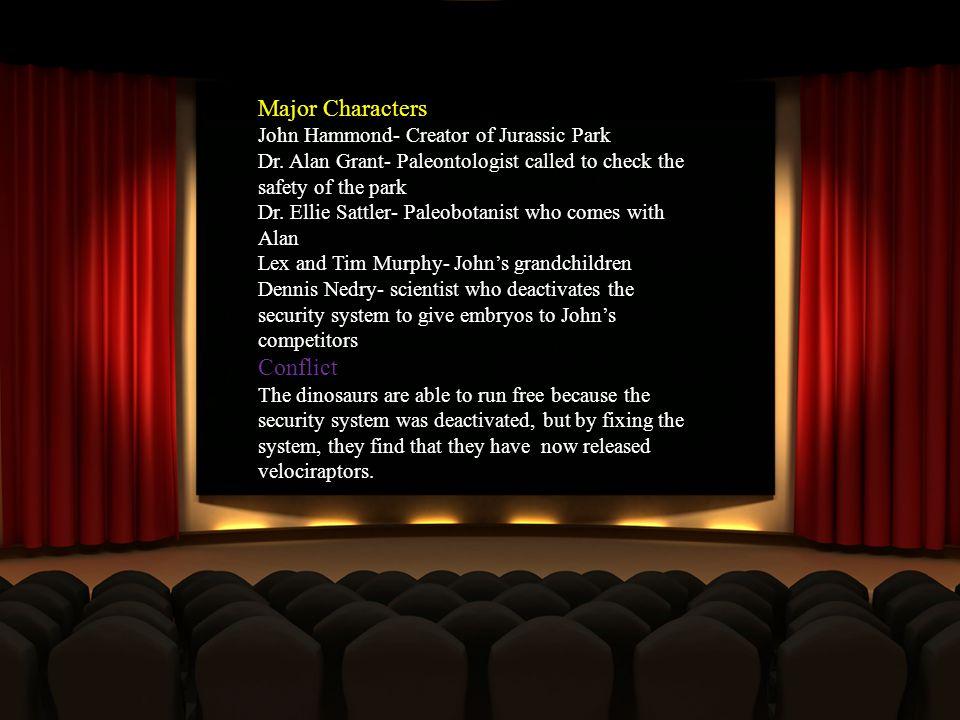 Major Characters John Hammond- Creator of Jurassic Park Dr.
