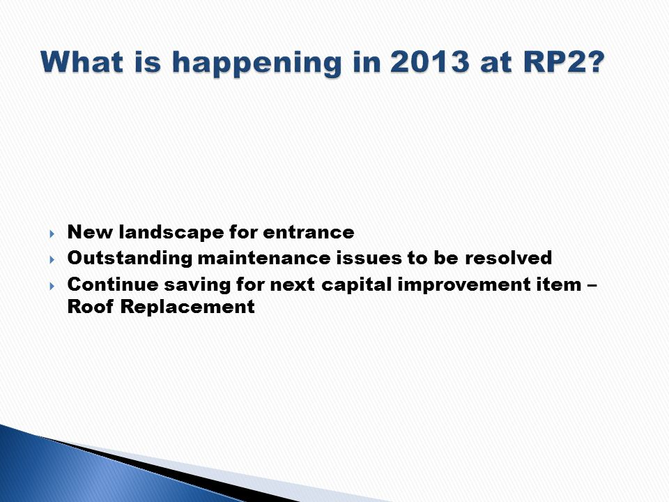 New landscape for entrance Outstanding maintenance issues to be resolved Continue saving for next capital improvement item – Roof Replacement