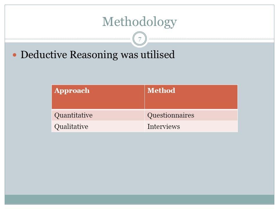 Methodology Deductive Reasoning was utilised ApproachMethod QuantitativeQuestionnaires QualitativeInterviews 7