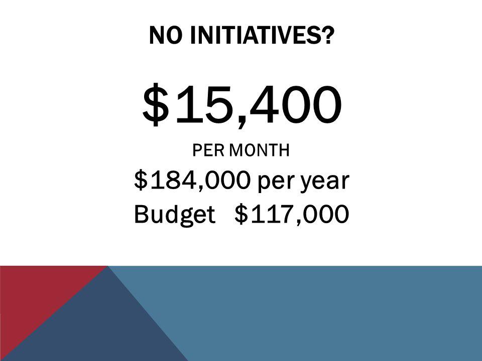 NO INITIATIVES $15,400 PER MONTH $184,000 per year Budget $117,000