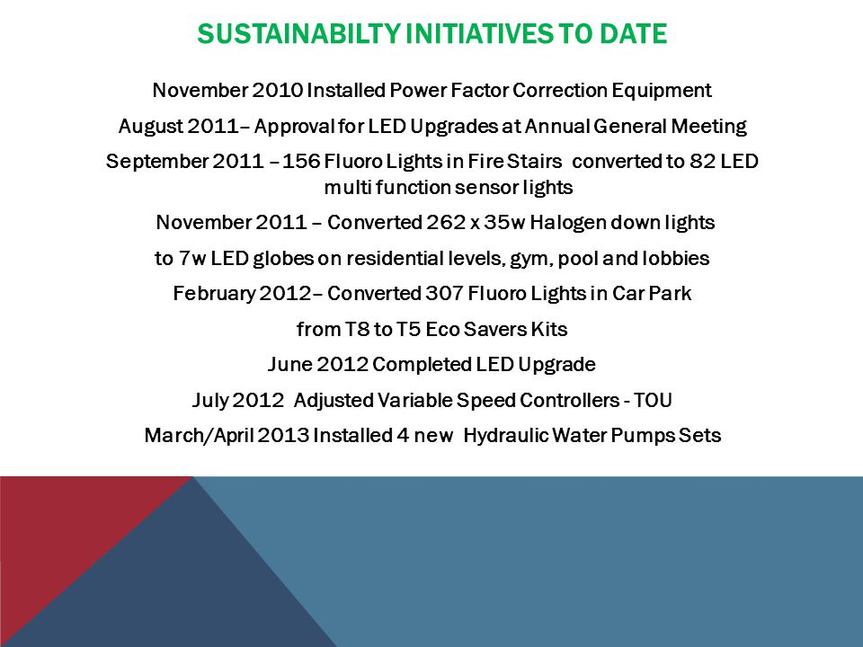 SUSTAINABILTY INITIATIVES TO DATE November 2010 Installed Power Factor Correction Equipment August 2011– Approval for LED Upgrades at Annual General M