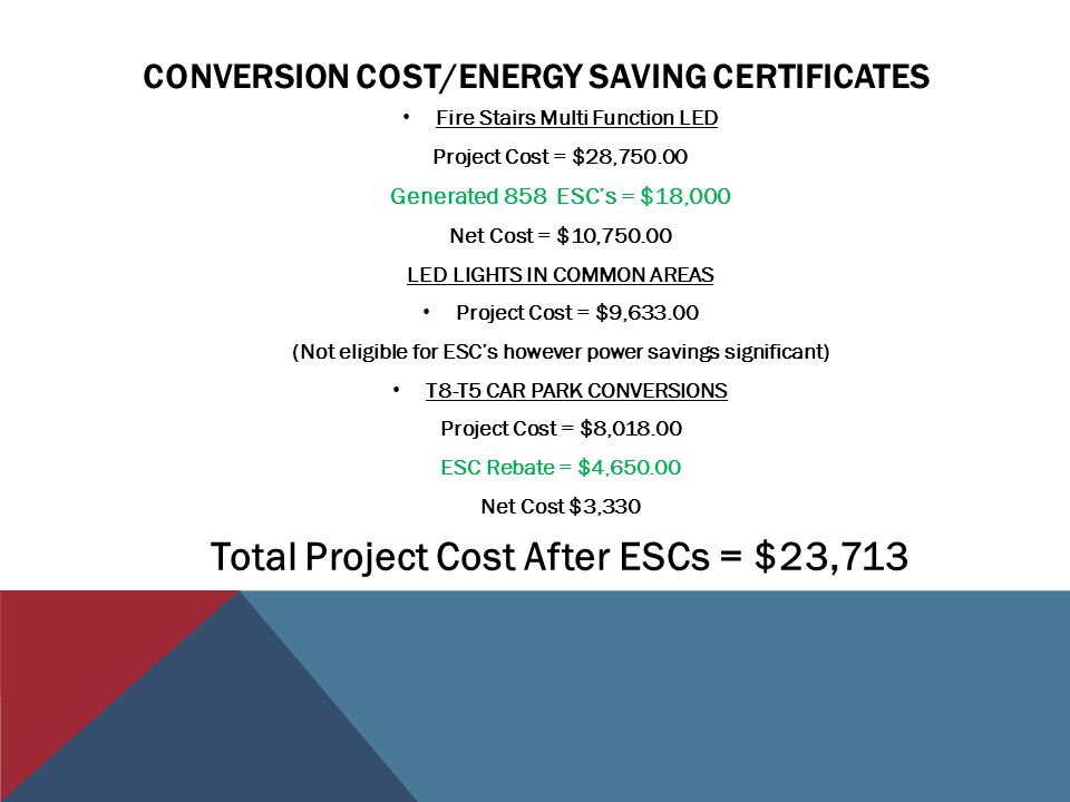 CONVERSION COST/ENERGY SAVING CERTIFICATES Fire Stairs Multi Function LED Project Cost = $28,750.00 Generated 858 ESCs = $18,000 Net Cost = $10,750.00