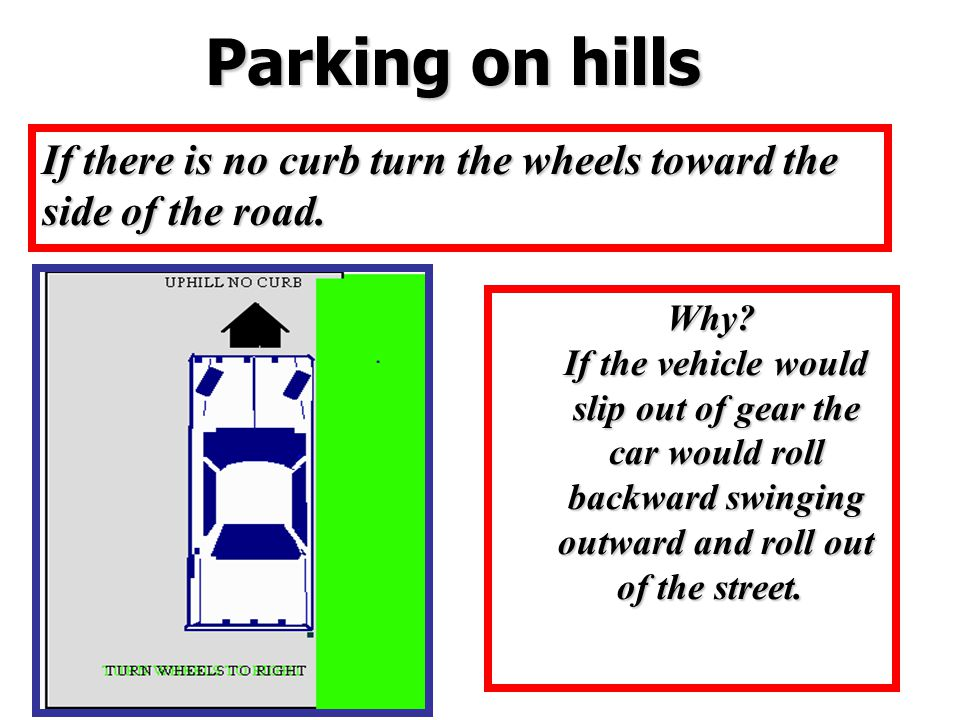 If there is no curb turn the wheels toward the side of the road. Parking on hills Why? If the vehicle would slip out of gear the car would roll backwa