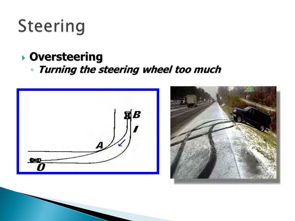 Oversteering Oversteering Turning the steering wheel too much Turning the steering wheel too much