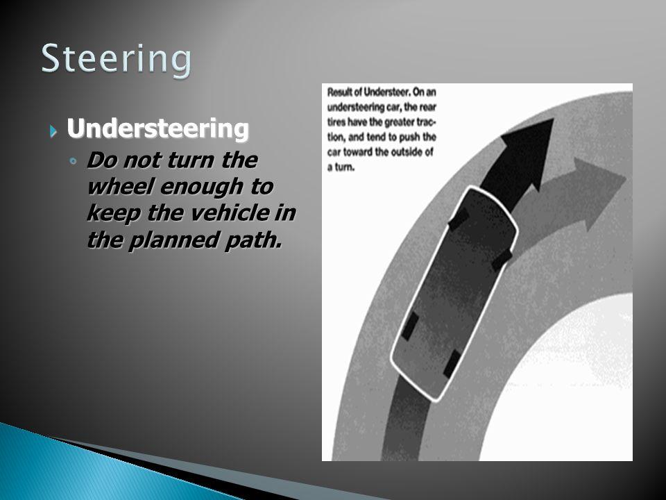 Understeering Understeering Do not turn the wheel enough to keep the vehicle in the planned path. Do not turn the wheel enough to keep the vehicle in