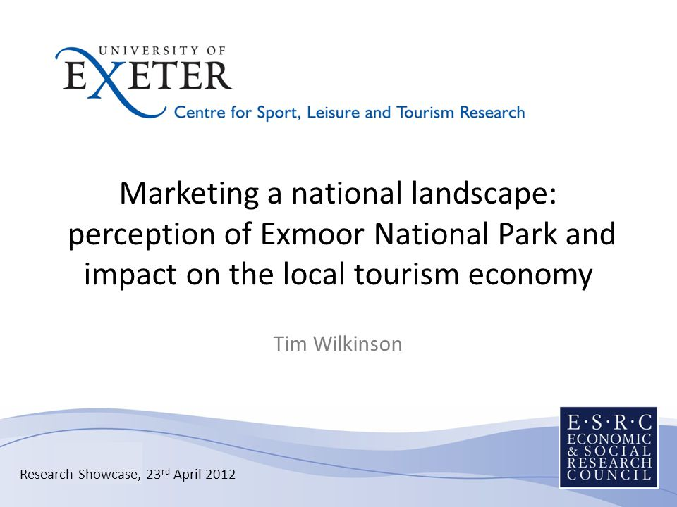 Presentation structure National Parks introduction Historical perspective Exmoor tourism question Previous research Work to date First research phase Forthcoming research phases Outcomes