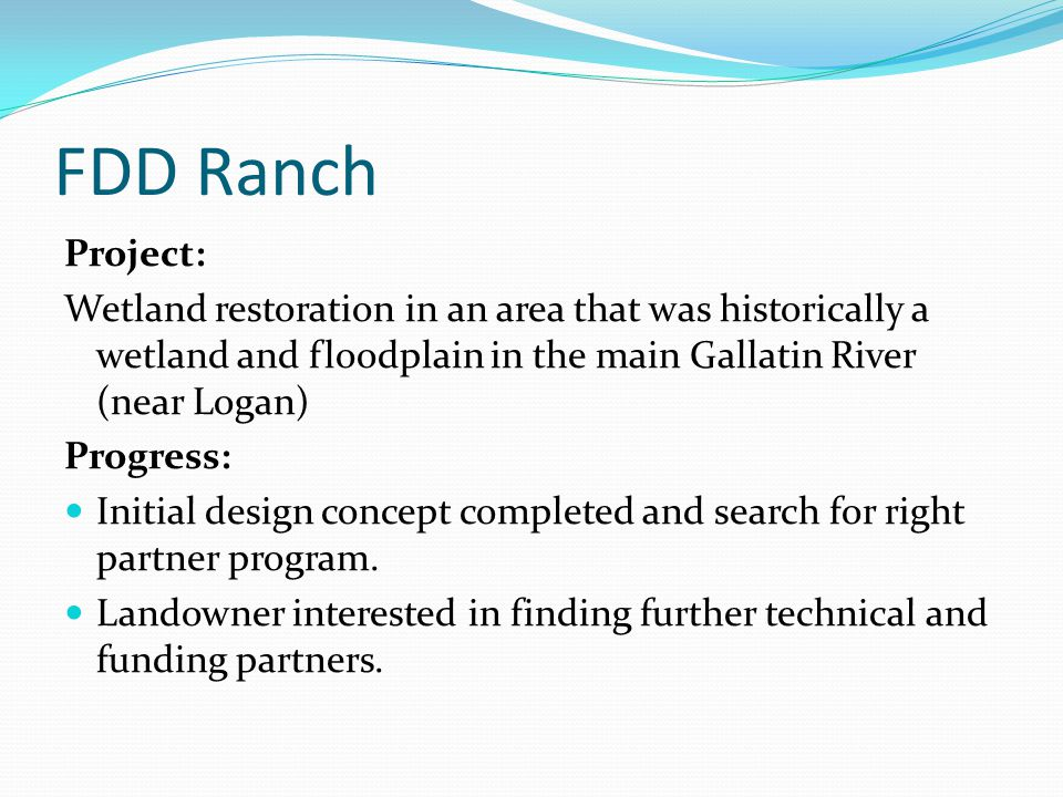 FDD Ranch Project: Wetland restoration in an area that was historically a wetland and floodplain in the main Gallatin River (near Logan) Progress: Initial design concept completed and search for right partner program.