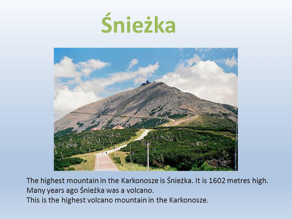 The highest mountain in the Karkonosze is Śnieżka. It is 1602 metres high. Many years ago Śnieżka was a volcano. This is the highest volcano mountain
