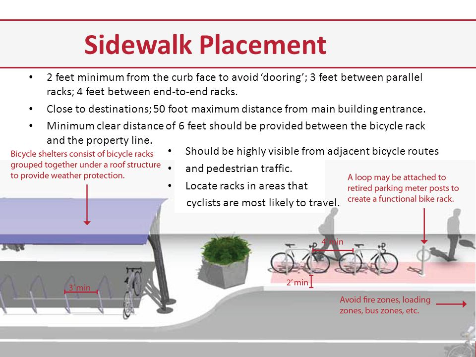 Sidewalk Placement 2 feet minimum from the curb face to avoid dooring; 3 feet between parallel racks; 4 feet between end-to-end racks.