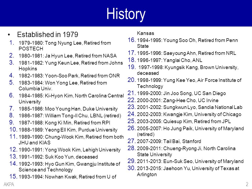 History Established in 1979 1. 1979-1980: Tong Nyung Lee, Retired from POSTECH 2. 1980-1981: Ja Hyun Lee, Retired from NASA 3. 1981-1982: Yung Keun Le