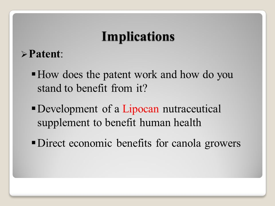 Patent: How does the patent work and how do you stand to benefit from it.