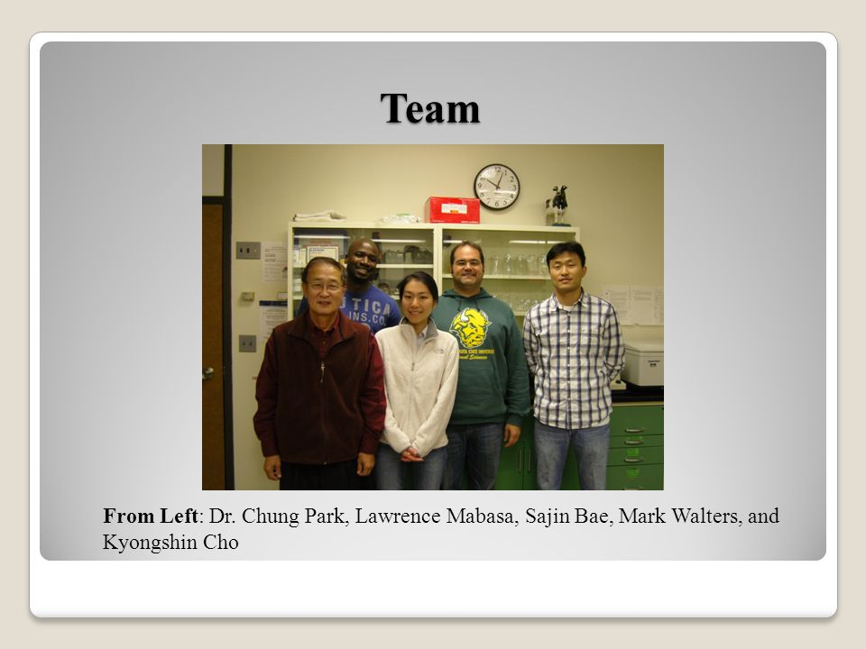 Team From Left: Dr. Chung Park, Lawrence Mabasa, Sajin Bae, Mark Walters, and Kyongshin Cho