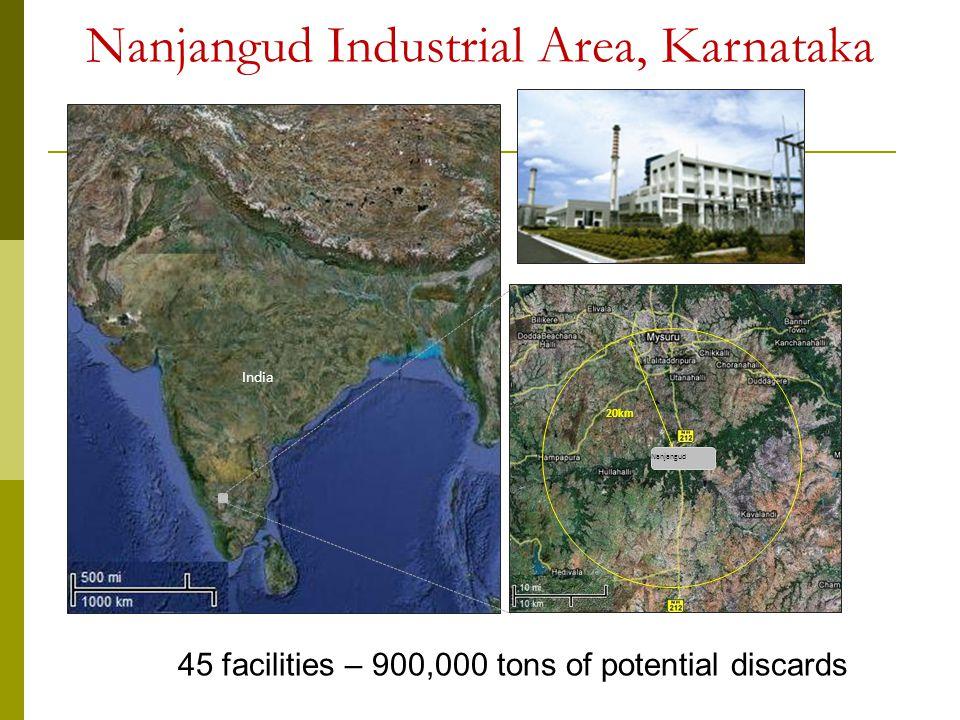 India Nanjangud 20km Nanjangud Industrial Area, Karnataka 45 facilities – 900,000 tons of potential discards