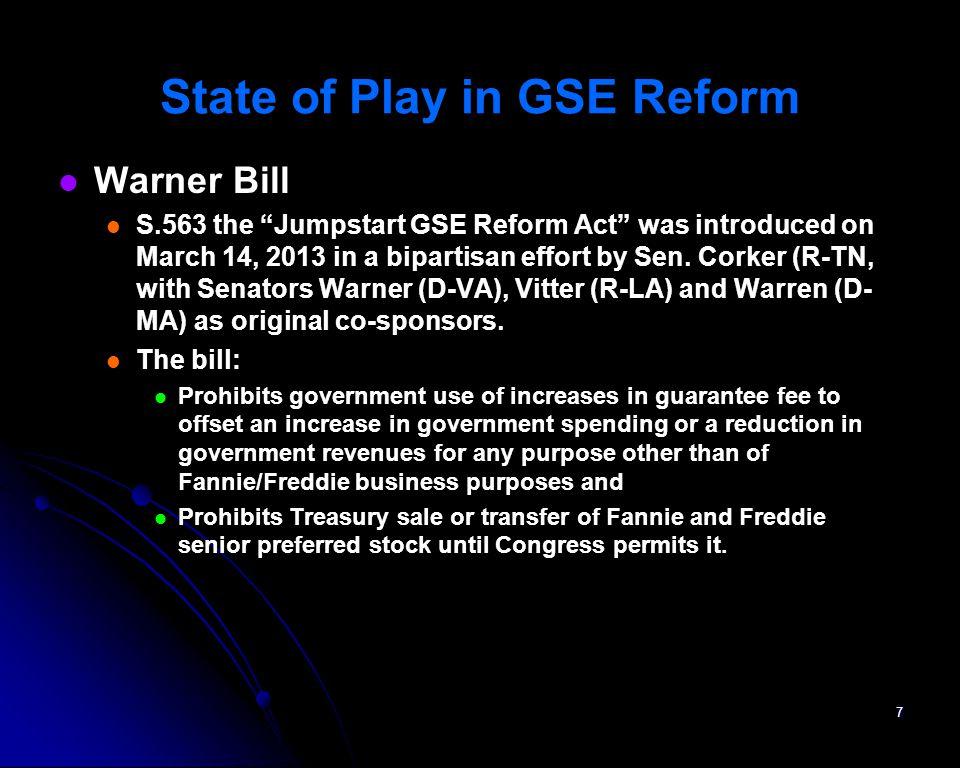 Warner Bill S.563 the Jumpstart GSE Reform Act was introduced on March 14, 2013 in a bipartisan effort by Sen. Corker (R-TN, with Senators Warner (D-V