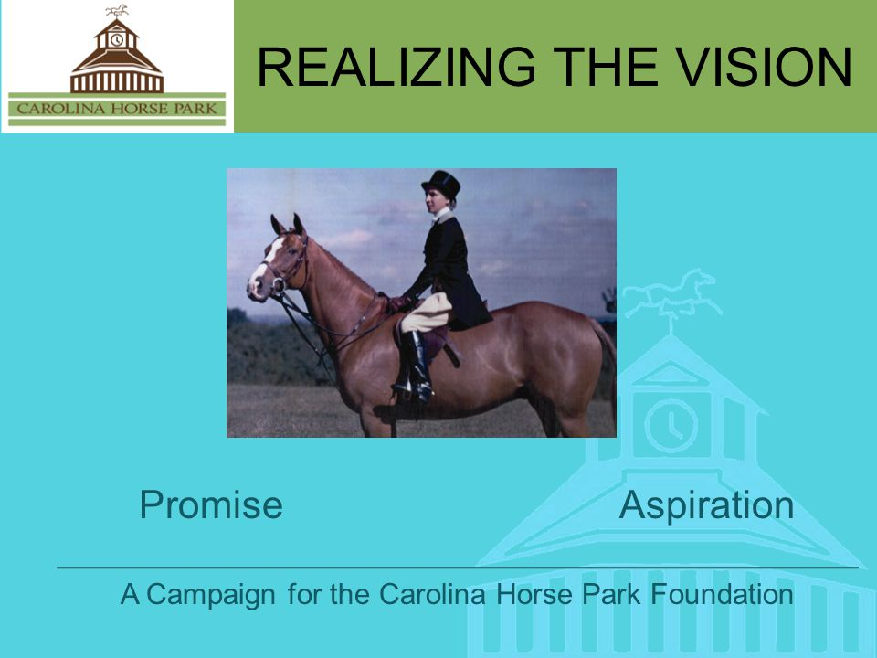 REALIZING THE VISION Promise Aspiration _________________________________________________ A Campaign for the Carolina Horse Park Foundation