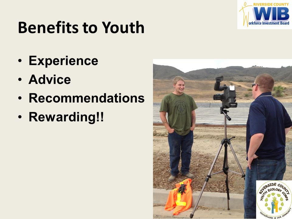 Benefits to Youth Experience Advice Recommendations Rewarding!!