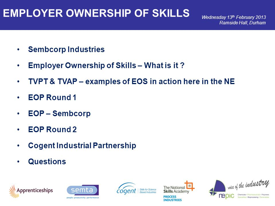 Wednesday 13 th February 2013 Ramside Hall, Durham Sembcorp Industries Employer Ownership of Skills – What is it ? TVPT & TVAP – examples of EOS in ac