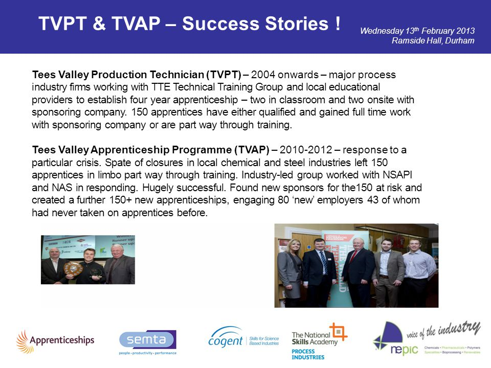Wednesday 13 th February 2013 Ramside Hall, Durham TVPT & TVAP – Success Stories ! Tees Valley Production Technician (TVPT) – 2004 onwards – major pro