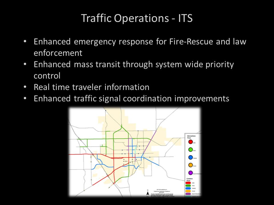 Enhanced emergency response for Fire-Rescue and law enforcement Enhanced mass transit through system wide priority control Real time traveler informat