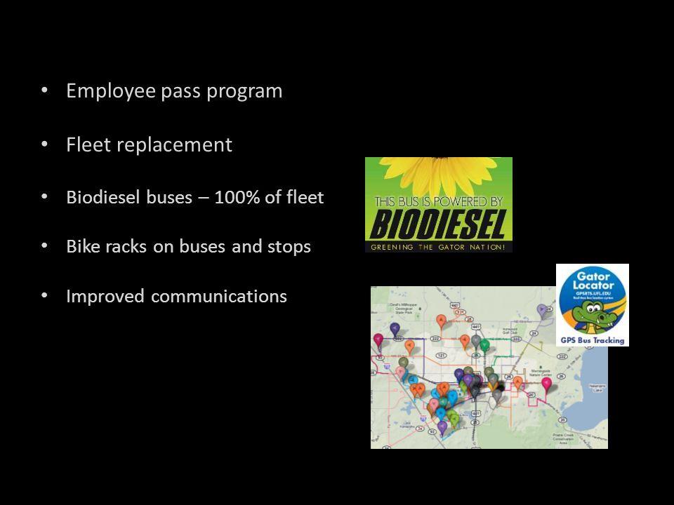 Employee pass program Fleet replacement Biodiesel buses – 100% of fleet Bike racks on buses and stops Improved communications