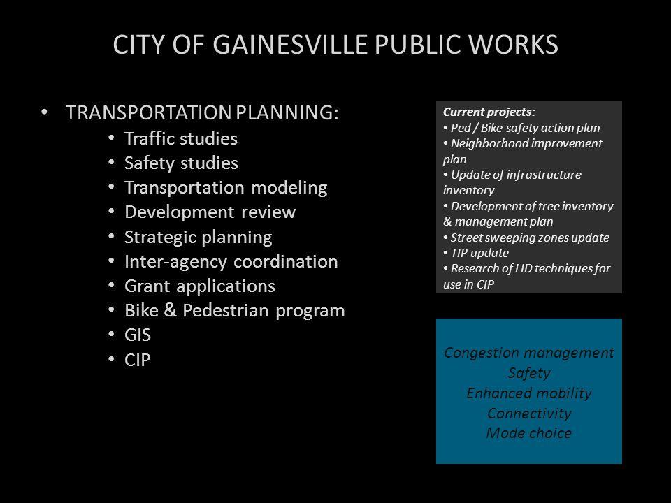 CITY OF GAINESVILLE PUBLIC WORKS TRANSPORTATION PLANNING: Traffic studies Safety studies Transportation modeling Development review Strategic planning