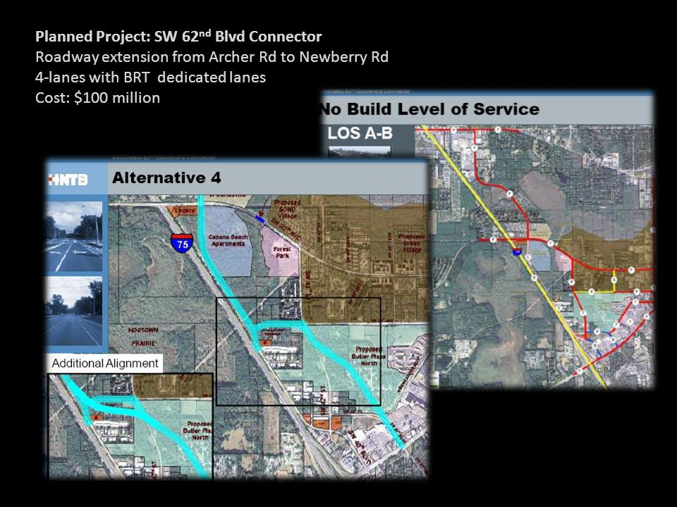 Planned Project: SW 62 nd Blvd Connector Roadway extension from Archer Rd to Newberry Rd 4-lanes with BRT dedicated lanes Cost: $100 million