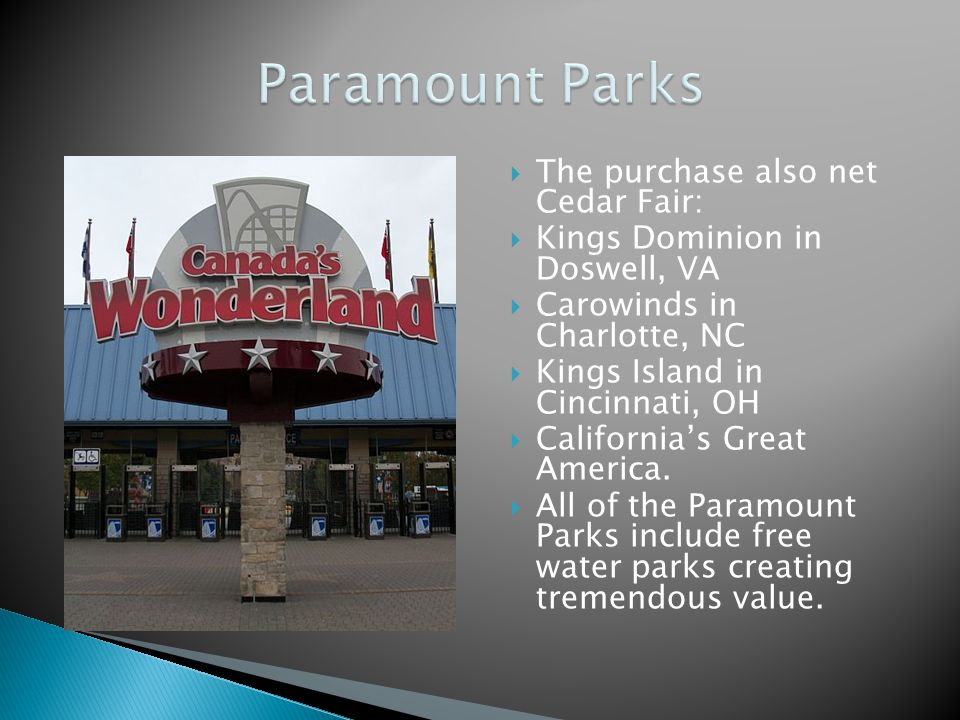 The purchase also net Cedar Fair: Kings Dominion in Doswell, VA Carowinds in Charlotte, NC Kings Island in Cincinnati, OH Californias Great America. A