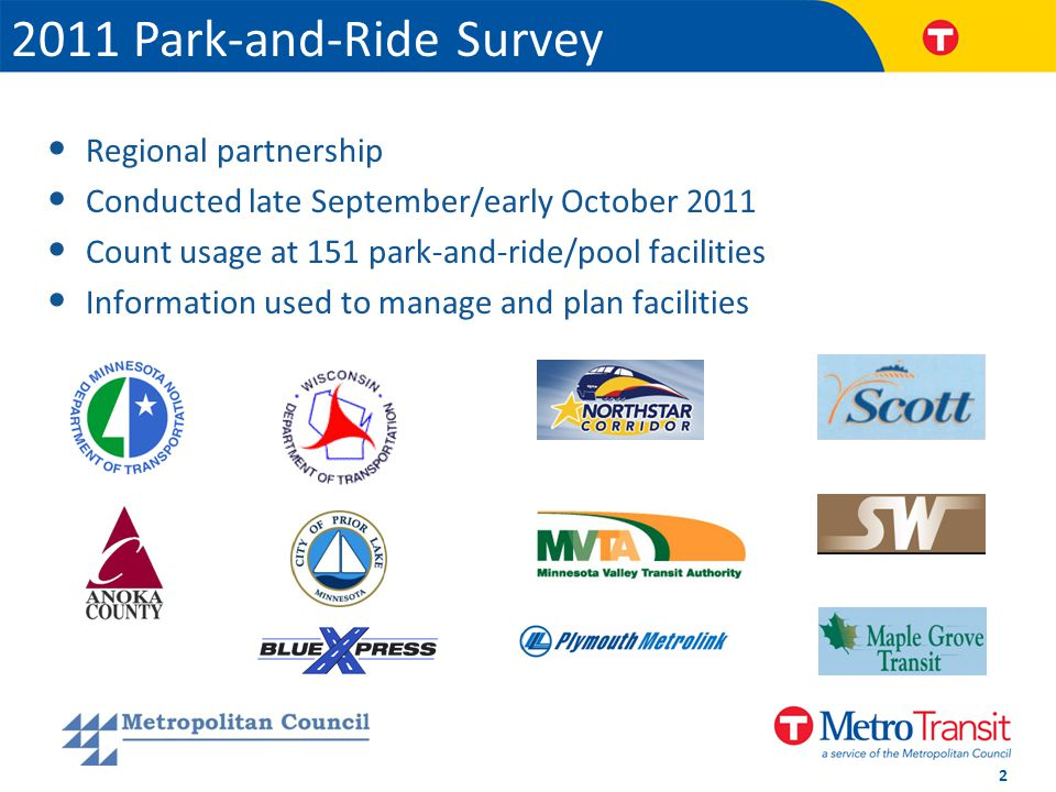 Regional partnership Conducted late September/early October 2011 Count usage at 151 park-and-ride/pool facilities Information used to manage and plan facilities 2011 Park-and-Ride Survey 2