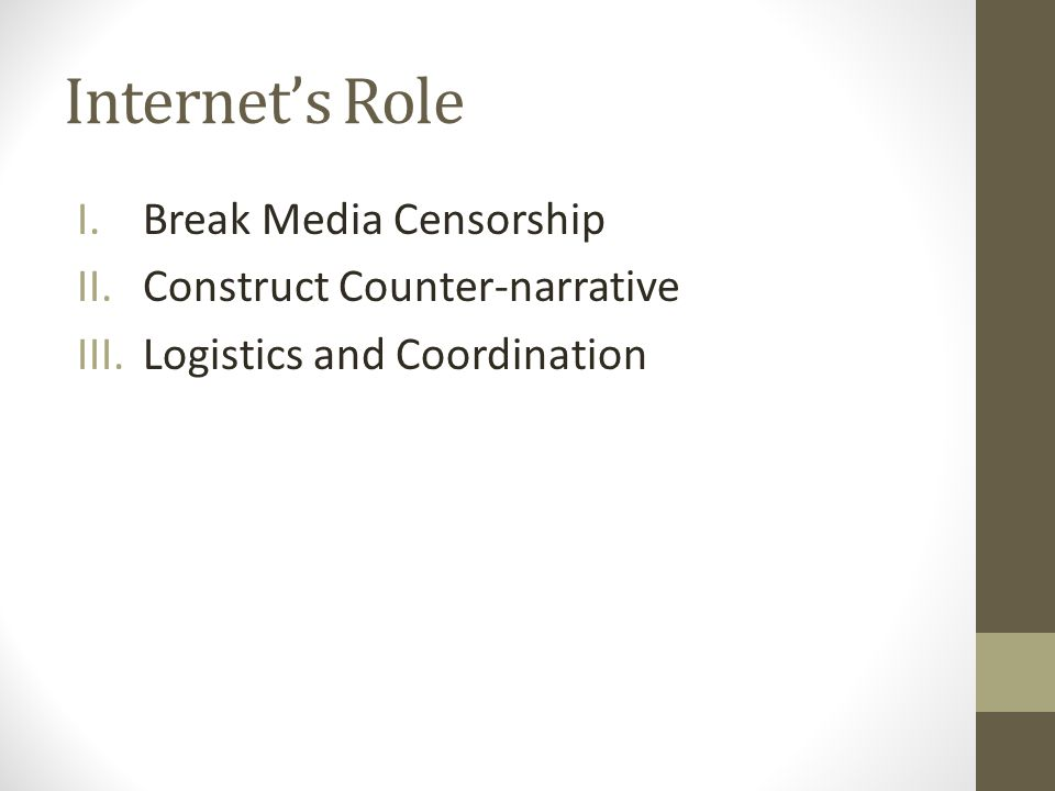 Internets Role I.Break Media Censorship II.Construct Counter-narrative III.Logistics and Coordination