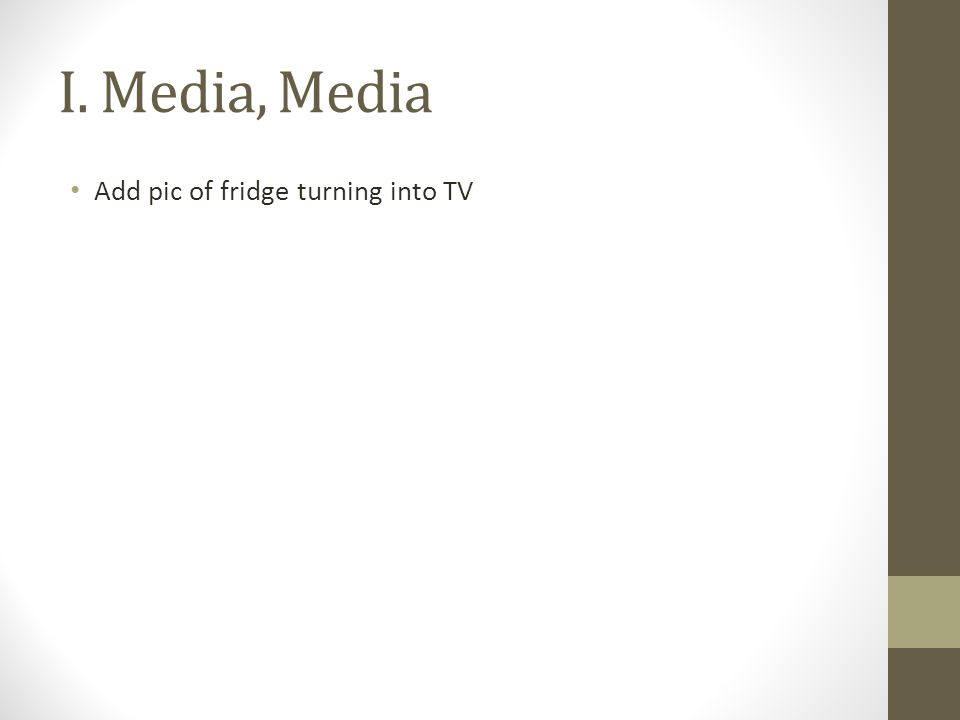 I. Media, Media Add pic of fridge turning into TV