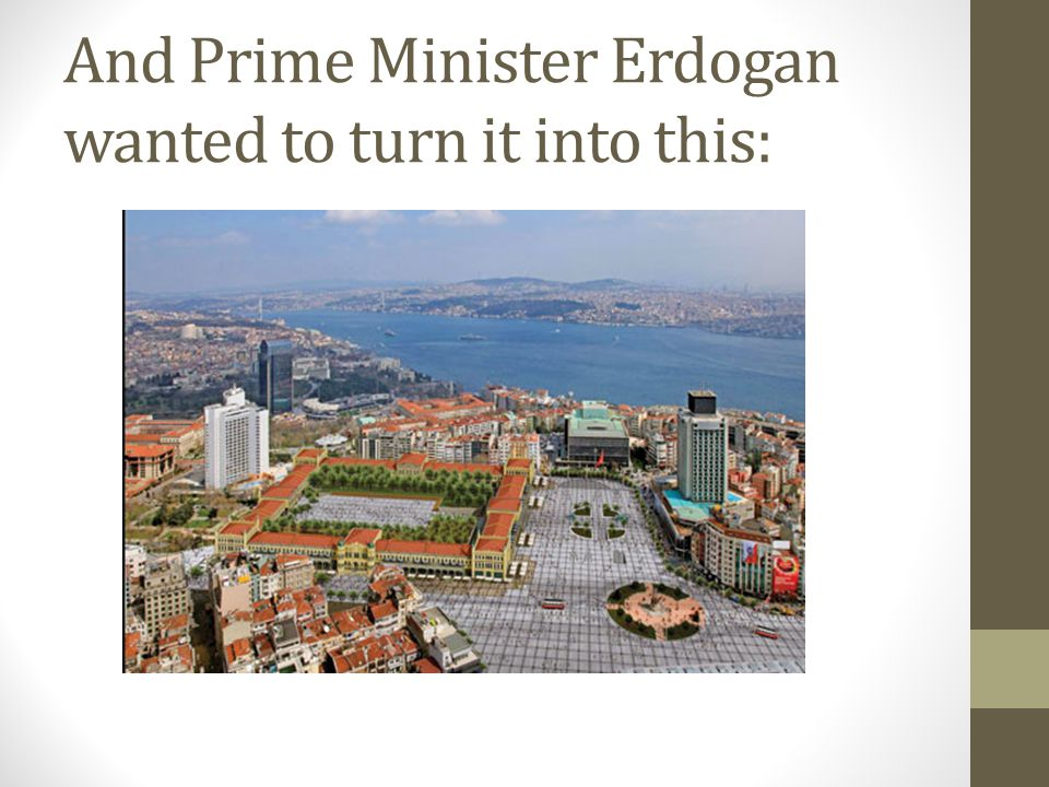 And Prime Minister Erdogan wanted to turn it into this: