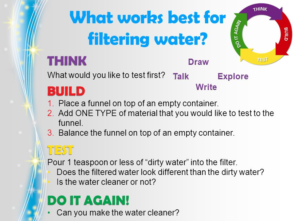 What works best for filtering water. THINK What would you like to test first.