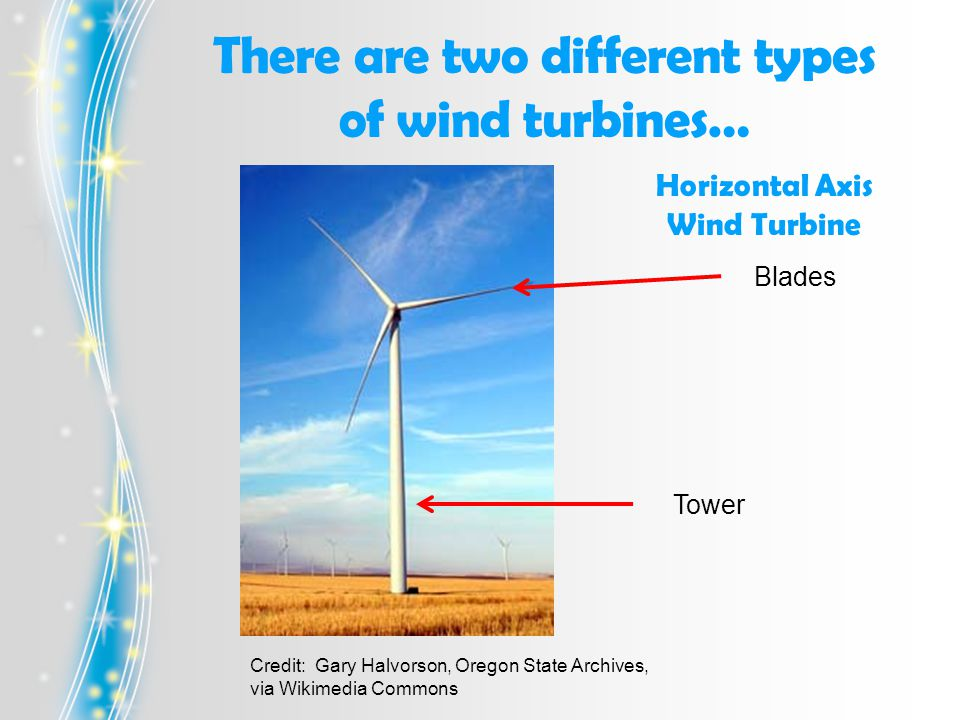 Blades Tower Horizontal Axis Wind Turbine Credit: Gary Halvorson, Oregon State Archives, via Wikimedia Commons There are two different types of wind turbines…